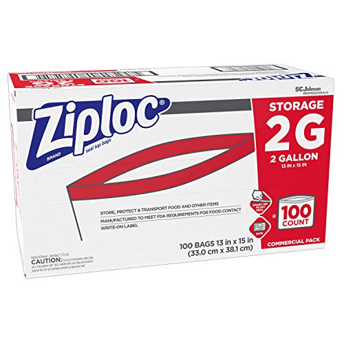 SC Johnson Professional ZIPLOC Storage Bags, For Food Organization and Storage, Double Zipper, 2 Gallon, 100 Count