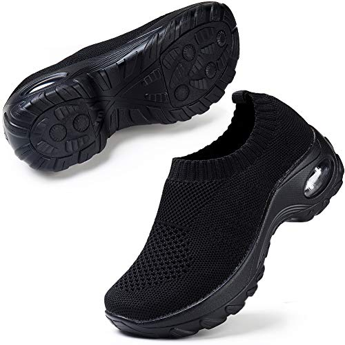 Walking Shoes for Women Lightweight Athletic Slip-On Running Shoes Fashion Sneakers Sports Shoes All Black 7