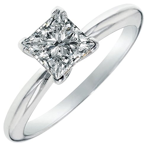 Clara Pucci 2.0 CT Princess Brilliant Cut Simulated Diamond CZ Solitaire Engagement Wedding Ring 14k White Gold, Size 7