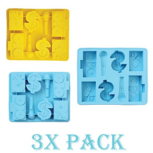 3 Pack of X Set HipHop DJ BoomBox $ sign Ice Cube Chocolate Soap Tray Mold (Ships From USA)