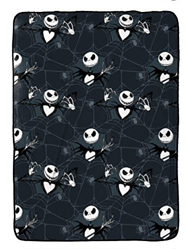 Jay Franco Disney Nightmare Before Christmas Blanket - Measures 62 x 90 inches, Kids Bedding Features Jack Skellington - Fade Resistant Super Soft Fleece (Official Disney Product)
