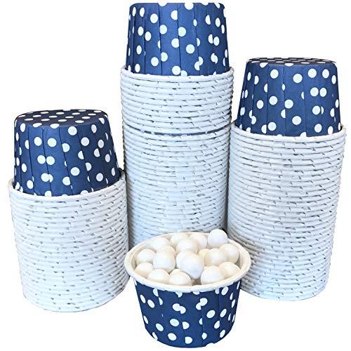Bulk Candy Nut Mini Baking Cups - Navy Blue White Dot - 100 Pack
