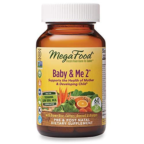 MegaFood, Baby & Me 2, prenatal Vitamin with Choline, Iron, Active Form of folic Acid, Vitamin B12 & B6, Non-GMO, Vegetarian, Take 2 Tablets Daily, 60 Tablets (30 Day Supply)