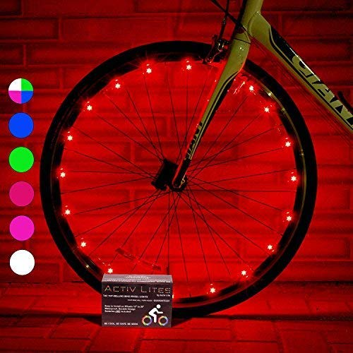 Activ Life Bicycle Tire Lights (1 Wheel, Red) Hot LED Bday Gift Ideas & Presents for Christmas - Popular Friday Black and Monday Cyber Special Sale for Him or Her - Men, Women, Kids & Fun Teens