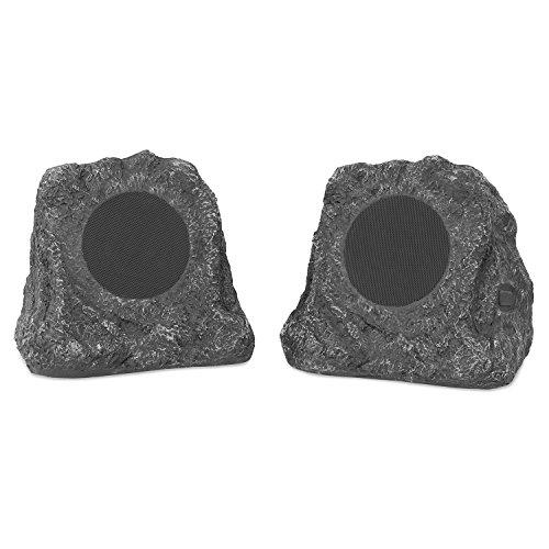 Innovative Technology Outdoor Rock Speaker Pair - Wireless Bluetooth Speakers for Garden, Patio | Waterproof Design, Built for all Seasons | Rechargeable Battery | Wireless Music Streaming | Charcoal