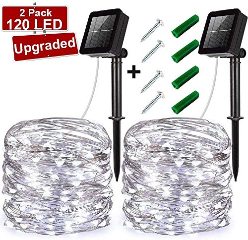 LiyuanQ Solar String Lights, Upgraded 2 Pack 120 LED Solar Fairy Lights 8 Modes Starry Waterproof Outdoor Indoor Garden Lights Copper Wire Lighting for Wedding, Patio, Yard, Party (Cool White)