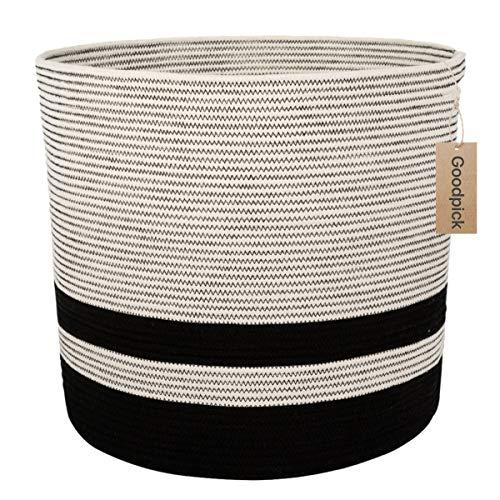 Goodpick Tall Cotton Rope Basket - Woven Storage Basket - Large Basket with Handle for Baby Nursery Decor Bin Laundry Basket Blanket Hamper Toys Basket, 18.1'' ×16.1''