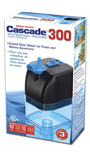 Penn-Plax Cascade 300 Submersible Aquarium Filter Cleans Up to 10 Gallon Fish Tank with Physical, Chemical, and Biological Filtration, Blue & Black (CIF1)