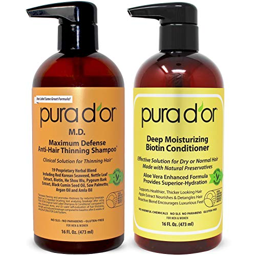 PURA D'OR MD Anti-Thinning Shampoo w/ Biotin, Coal-Tar 19+ Herbal Blend & Deep Moisturizing Conditioner Set: Reduce Hair Thinning and Healthy Scalp - All Hair Types, Men & Women (Packaging May Vary)