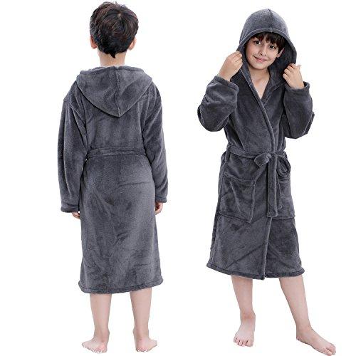 Hooded Herringbone Boy's Fleece Grey Soft Spa Kimono Long Robe,Kids Comfy Sleepwear Bathrobe(6-7 Year)