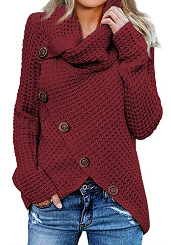 Asvivid Womens High Neck Cowl Neck Button Ribbed Knit Tunic Sweater Boyfriends Loose Cotton Juniors Wrap Jumpers Tops M Red