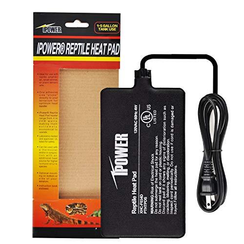 iPower 4 X 7 Inch Reptile Heat Mat Under Tank Heater 4W Terrarium Heating Pad for Amphibians and Reptiles Pet, Black