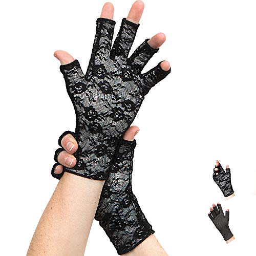 Classy Pal Compression Gloves for Arthritis, Women & Men, Typing Gloves for Neuropathy, Hand Pain Relief from Rheumatoid, Raynauds, Carpal Tunnel & Lymphedema, Fingerless, Comfy, Cotton (Lace, Medium)