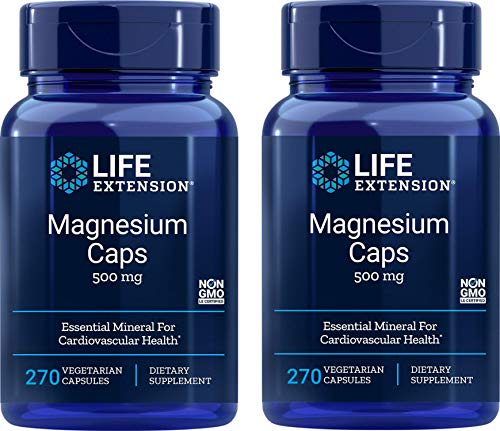 Life Extension Magnesium Caps 500mg, 270 Capsules (Pack of 2) 500mg Mag Supplement: Oxide, Citrate, Succinate, Glycinate