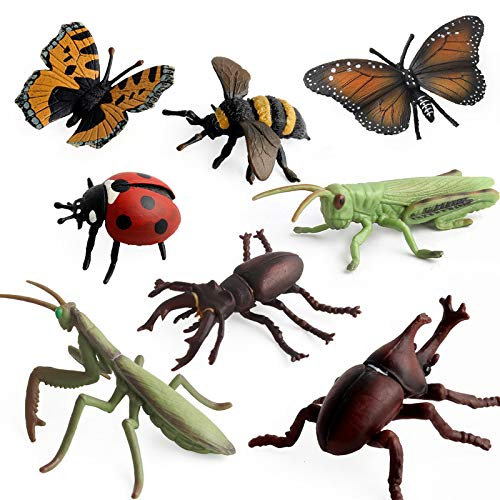 Hibon Simulated Insect Model Realistic Insect Figurine Fake Mantis Grasshopper Bee Butterfly Coccinella Uang Stag Beetle for Collection Science Educational Props, Set of 8