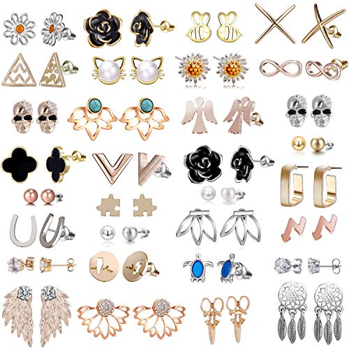 32 Pairs Assorted Stainless Steel Stud Earrings for Women - Black Rose Flower Stud Earrings for Women - Lotus Flower Ear Jacket Earrings for Women and Girls-Angle Wing Pearl Earrings Set for Girls