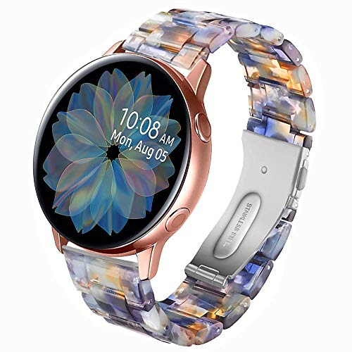 Miimall Compatible with Samsung Galaxy Watch 42mm Resin Band Women Men Stainless Steel Clasp Strap Bracelet for Samsung Galaxy Watch 42mm Galaxy Active 40mm Galaxy Active 2 40mm 44mm (Ocean Blue)