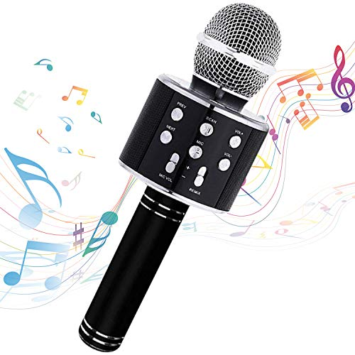 Karaoke Microphone Wireless With Bluetooth Speaker - Instagram 5000+Likes iPhone Android PC Smartphone Portable Handheld Microphone for Singing Recording Interviews or Kids Home KTV Party