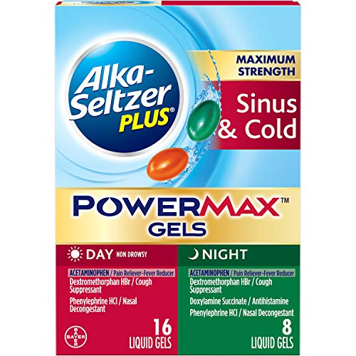 Alka-Seltzer Plus Maximum Strength powermax Liquid Gels, Sinus & Cold Day & Night, 24Count