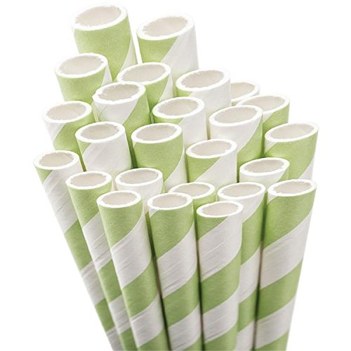 Aardvark Paper Straws Straw-LTGRN Unwrapped Jumbo Straw, 7.75-Inch, Light Green and White Striped, 50/Pkg