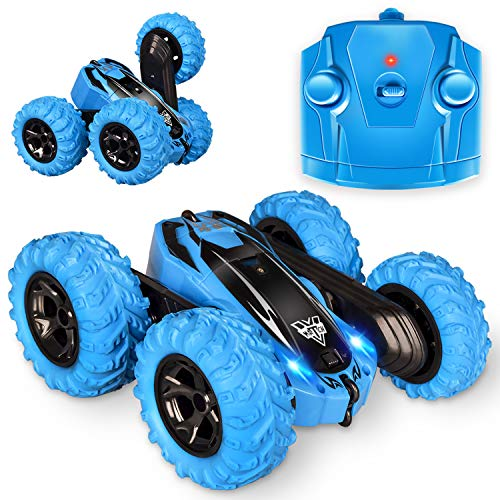 Remote Control car,2.4GHz Electric Race Stunt Car,Double Sided 360° Rolling Rotating Rotation, LED Headlights RC 4WD High Speed Off Road for 3 4 5 6 7 8-12 Year Old boy Toys