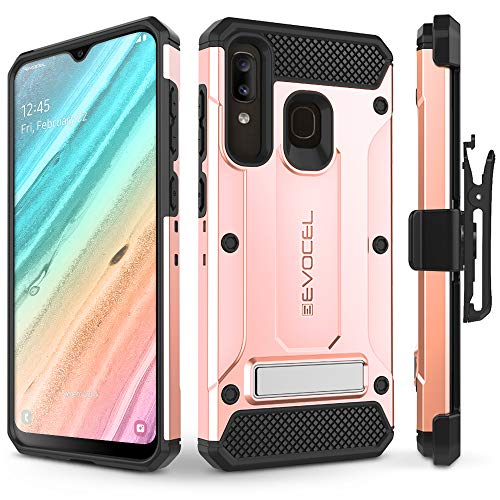 Evocel Galaxy A20 Case Explorer Series Pro with Glass Screen Protector and Belt Clip Holster for The Samsung Galaxy A20, Rose Gold