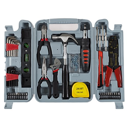 Household Hand Tools, 130 Piece Tool Set by Stalwart, Set Includes – Hammer, Wrench Set, Screwdriver Set, Pliers (Great for DIY Projects)