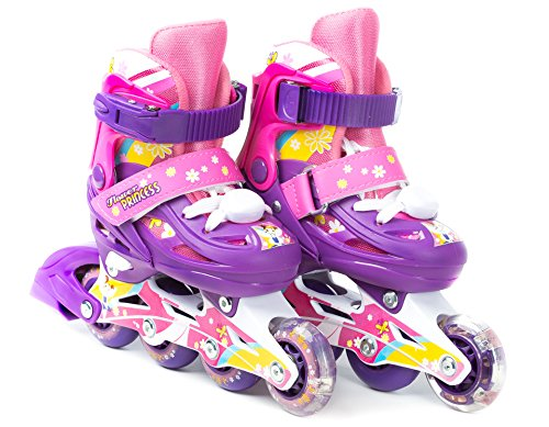TITAN Flower Princess Girls Inline Skates with LED Light-up Front Wheel and LED Laces, Multi-Color, Kid Size Small (Flower Princess Small Skates)