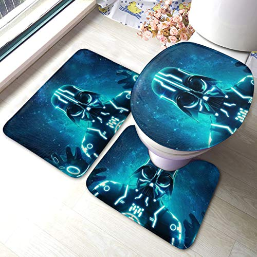 Heavenly Battle Darth Vader Star War Bath Mat 3 Piece Set,Bathroom Carpet Set Bath and Absorbent Bath and Mat Pads Sets Anti-Skid Pads Bath Mats + Contour Pads + Toilet Lid