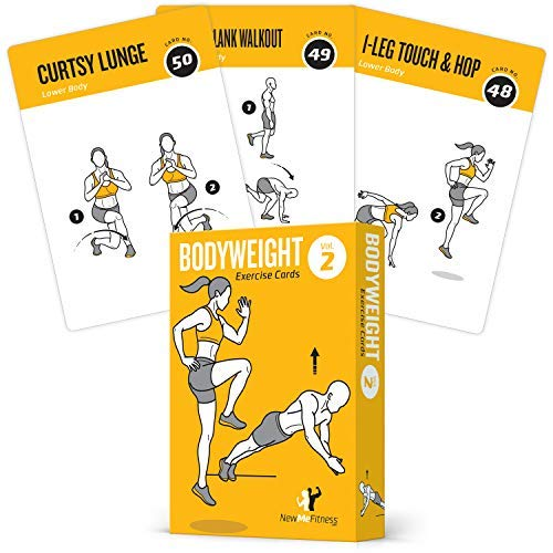 BODYWEIGHT VOL. 2 Exercise Cards Home Gym Workout Personal Trainer Fitness Program Guide Tones Core Ab Legs Glutes Chest Biceps Total Upper Body Workouts Calisthenics Training Routine
