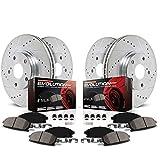 Power Stop K6495 Front & Rear Brake Kit with Drilled/Slotted Brake Rotors and Z23 Evolution Ceramic Brake Pads