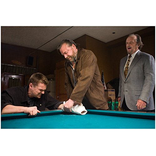 Jack Nicholson 8 Inch x 10 Inch Photograph The Departed (2006) w/Leonardo DiCaprio & Ray Winstone at Pool Table kn