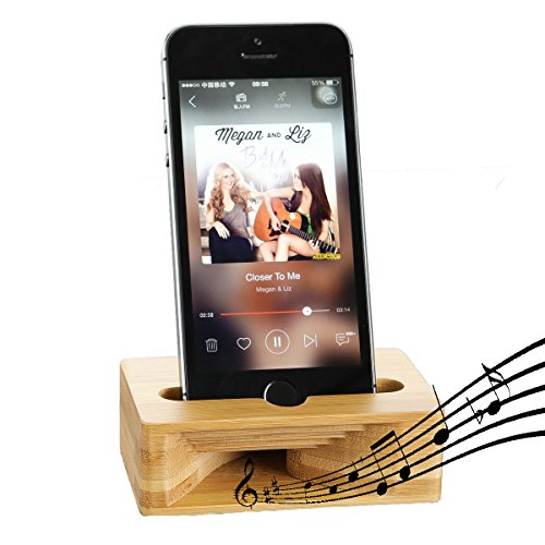 Cell Phone Stand Amplifier, Fanshu Desktop Mobile Phone Holder, Universal Portable Wood Cellphone Dock on Desk Bamboo Bed Stand Mount Cradle for Phone Under 5.5 Inches