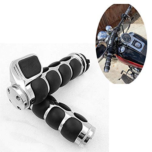 HTTMT TRHB114-F-CD-1 Inch Chrome Rubber Hand Grips 1 inch Pair Compatible with Harley Davidson FXDWG Dyna Wide Glide/Suzuki Volusia 800 M50 Boulevard