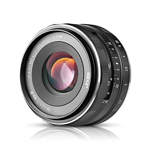 Meike 35mm F1.7 Large Aperture Manual Prime Fixed Lens APS-C for Sony E-Mount Digital Mirrorless Cameras A7III A9 NEX 3 3N 5 NEX 5T NEX 5R NEX 6 7 A6400 A5000 A5100 A6000 A6100 A6300 A6500 A3000