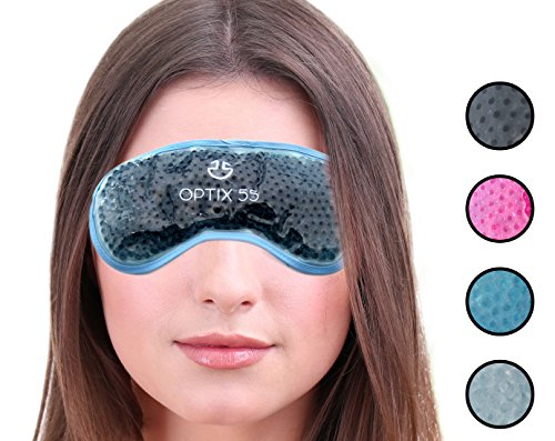 Gel Eye Mask - Hot or Cold Compress Pack Eye Therapy | Cooling Eye Mask for Dark Circles & Puffiness, Puffy Eyes, Dry Eyes, Headaches, Migraines, Sinus - Reusable Eye Face Mask | Ergo Gel Bead (Grey)