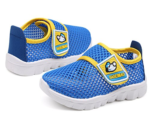 DADAWEN Baby's Boy's Girl's Water Shoes Breathable Mesh Running Sneakers Sandals for Beach Swimming Pool Blue US Size 4 M Toddler