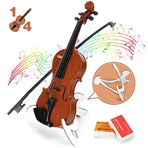 BAOLI Kids Music Simulation Violin Toy with Tuner, Free Rosin, Chin Rest, Strings, Early Educational Musical Instruments for Beginner Above 36 Months , Birthday Gifts for Boys&Girls(1/4 Brown)