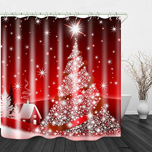 Christmas Tree Red Print Shower Curtain Waterproof Polyester Cloth & Rustproof Copper Buckle Non-Pollution 71 x 71 inches