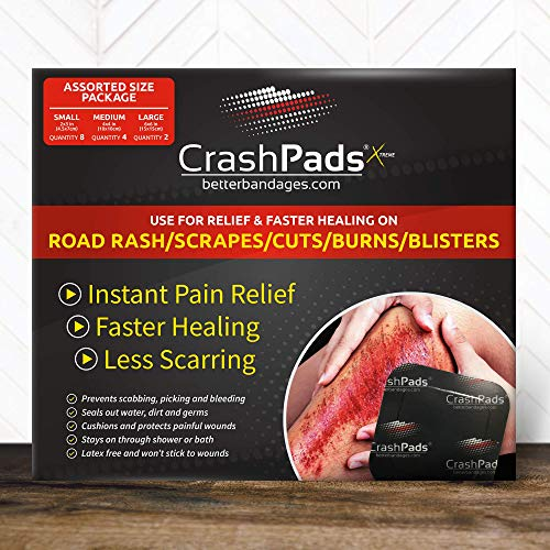 Assorted CrashPads Adhesive Bandages for Road Rash, Raspberries, Cuts, Scrapes and Burns (Crash Pads roadrash Dressing) [14pcs: 2-Large, 4-Medium and 8-Small]