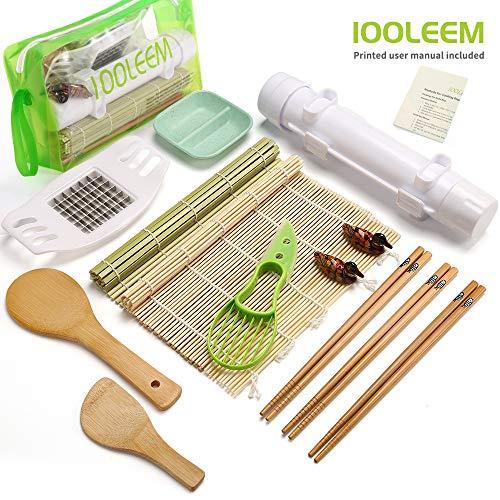 IOOLEEM 15 Pieces Sushi Making Kit, Ideal beginner's Sushi Maker, all-in-one sushi making set, Bamboo Sushi maker, Sushi Bazooka, Sushi mats