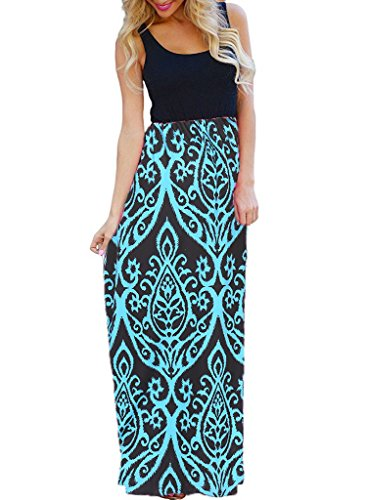 OURS Women's Ethnic Style Party Sleeveless Long Maxi Dresses with Pockets (Blue, XXL)