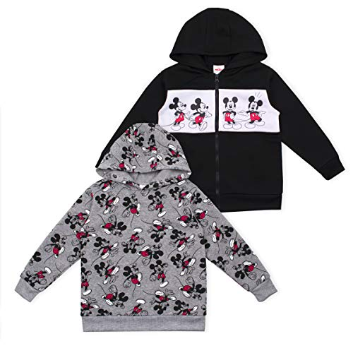 Disney Boy's 2-Piece Mickey Mouse Zip Up Hooded Jacket and Pullover Hoodie Set, Black/Grey, Size 3T