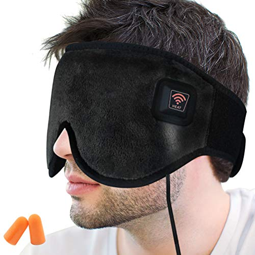 Creatrill X-Large Heated Eye / Sinus Mask, USB Heating Compress Pad for Dry Tired Puffy Eyes, Dark Circle, Migraines Headache, Blepharitis, Sties, Sinus Pain Pressure Relief Hot Therapy (Black)