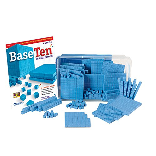 hand2mind 5556 Blue Plastic Base Ten Blocks For Kids Ages 8-11, Base 10 Units, Rods, Flats, Cube, And Activity Book, Learn Place Value, Number Concepts, And Counting, Homeschool Math Supplies (Set of 161)