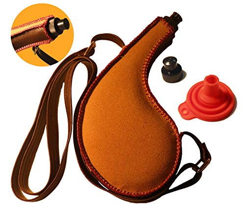 Bota Bag – 750ml Spanish Wine Skin – Leak-Proof Premium Leather Canteen with Rigid Heavy-Duty BPA-Free Bladder Liner, Adjustable Shoulder Strap and No-Spill Funnel (New Design)