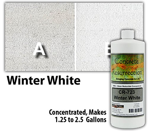 Concrete Stain Concentrate Just Add Water, User & Eco-Friendly Semi-Transparent Professional Grade Cement Stain, Concrete Resurrection Brand (32 Ounce, Winter White)