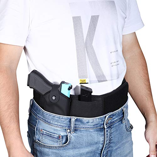 KaMoore Belly Band Holster - Perfect Gun Holster for Men Women - Concealed Carry Holster for Right and Left - Compatible with Ruger LCP, Gun Smith, Wesson Bodyguard, Shield, Glock and Same Size Guns
