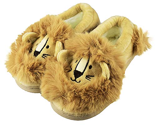 Boys Family Cute Lion Slippers with Anti-Skid Hard Sole for Little Kids Size 12-13 US Beige