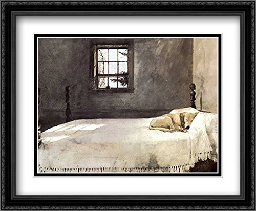 Master Bedroom, c.1965 2X Matted 34x28 Large Black Ornate Framed Art Print by Andrew Wyeth